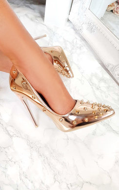 View the Cindy Metallic Studded Court Heels online at iKrush