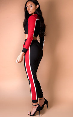 View the Bella Stripe Cropped Tracksuit online at iKrush