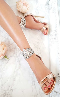 View the Colette Diamante Strap Peep Toe Heels online at iKrush