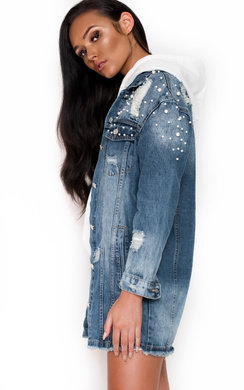 View the Daisy Longline Embellished Denim Jacket online at iKrush