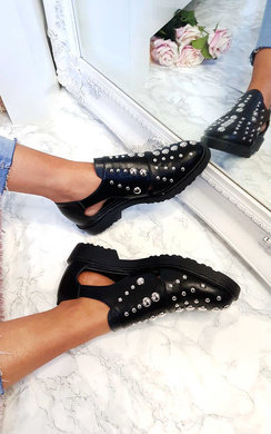 View the Dills Studded Buckle Flats online at iKrush
