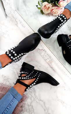 View the Elin Studded Cut Out Ankle Boots online at iKrush