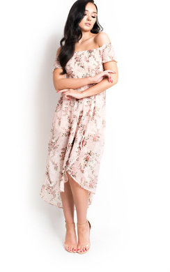 View the Felicity Floral Ruche Chiffon Dress online at iKrush