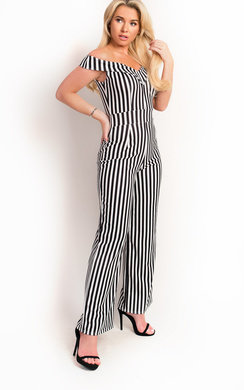 View the Fifi Stripe Wide Leg Bardot Jumpsuit online at iKrush