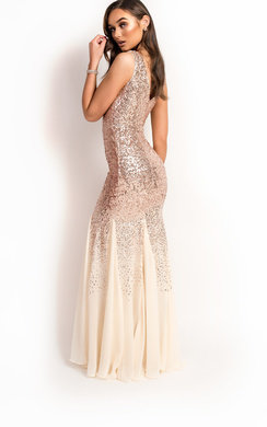 View the Genevieve Sequin Fishtail Maxi Dress online at iKrush
