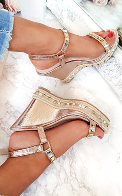 View the Inez Double Roped Studded Wedges online at iKrush
