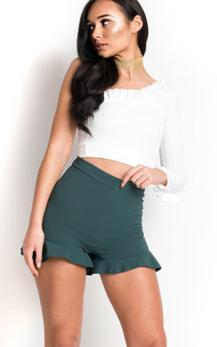 View the Jayden Frill High Waist Shorts online at iKrush