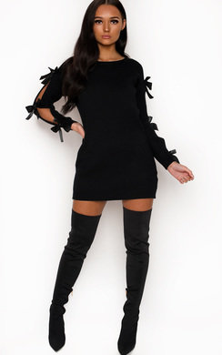 View the Jessica Cut Out Bow Detail Knit Dress online at iKrush