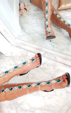 View the Karla Embellished Perspex Gladiator Heels online at iKrush