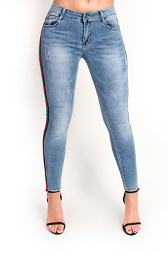View the Kirt Striped Mid Rise Skinny Jeans online at iKrush