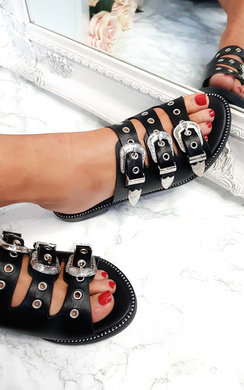 View the Lucy Triple Buckle Sliders online at iKrush