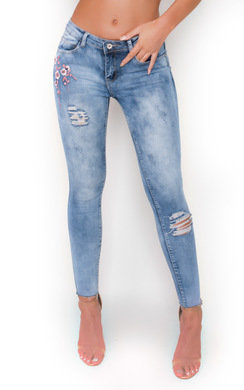 View the Megz Floral Print Mid Rise Jeans  online at iKrush
