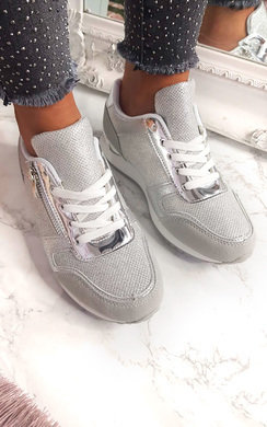 View the Mila Metallic Two Toned Zip Trainers  online at iKrush