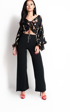 View the Natasha Frill Tie Crop Top  online at iKrush
