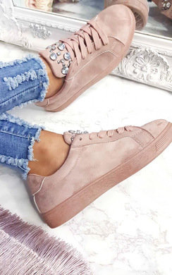 View the Orla Faux Suede Embellished Trainers online at iKrush