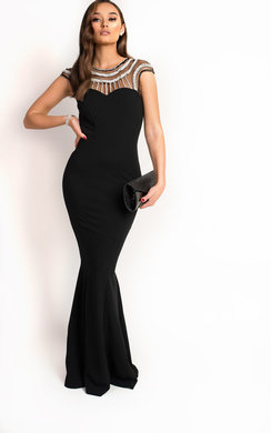 View the Paige Embellished Fishtail Maxi Dress  online at iKrush