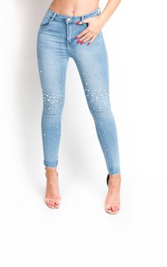 View the Paola Beaded Embellished Mid Rise Jeans online at iKrush