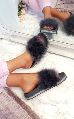 View the Paris Faux Fur Diamante Feather Sliders online at iKrush