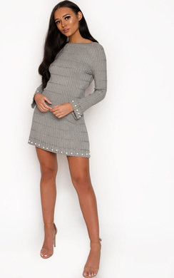 View the Paris Ribbed Pearl Dress online at iKrush