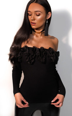 View the Penelope Ribbed Off Shoulder Ruffle Top online at iKrush