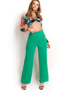 View the Polly High Waist Button Wide Leg Trousers online at iKrush