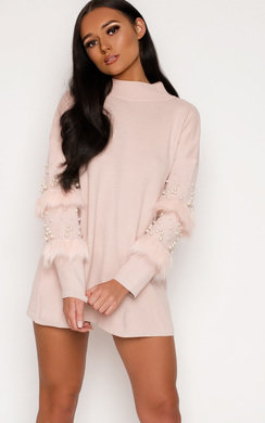 View the Poppie Faux Fur Knitted Jumper Dress  online at iKrush