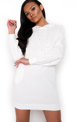 View the Riley Pearl Embellished Jumper Dress online at iKrush