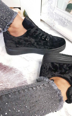 View the Rozzie Velvet Platform Trainers  online at iKrush