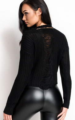 View the Sara Knitted Distressed Jumper online at iKrush