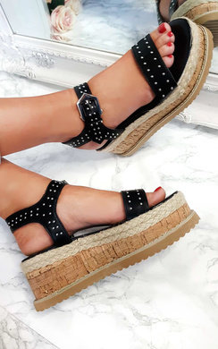View the Seline Braided Studded Wedges online at iKrush