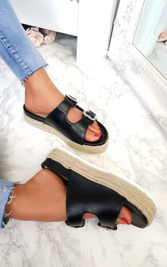 View the Sharri Double Buckle Flatform Sliders online at iKrush