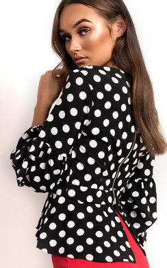 View the Shelly Peplum Ruffle Polka Dot Top online at iKrush
