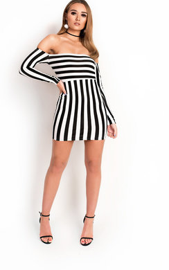View the Kari Bardot Stripe Mini Dress online at iKrush