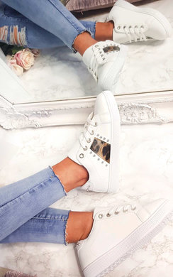 View the Simone Leopard Stripe Trainers online at iKrush