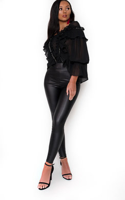 View the Tamera Frill Eyelet Cropped Blouse online at iKrush