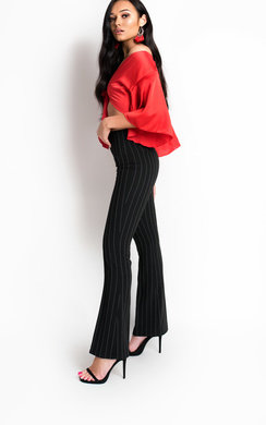View the Tessie Striped Flare Trousers online at iKrush