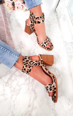 View the Tianah Double Strap Leopard Print Sandals  online at iKrush