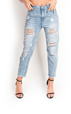 View the Tillie Embellished Distressed Jeans  online at iKrush