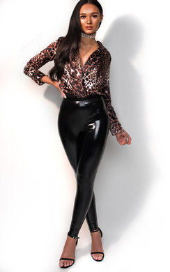 View the Zoey Leopard Satin Bodysuit                                                                                                                                                online at iKrush