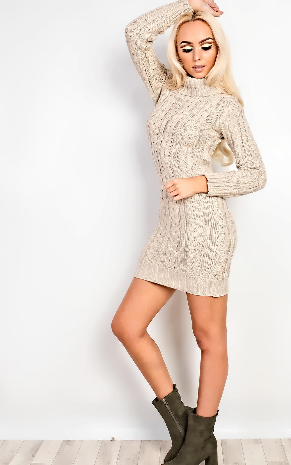 2f499943057 IKRUSH Women s Addison High Neck Knit Dress in STONE Size M L ...