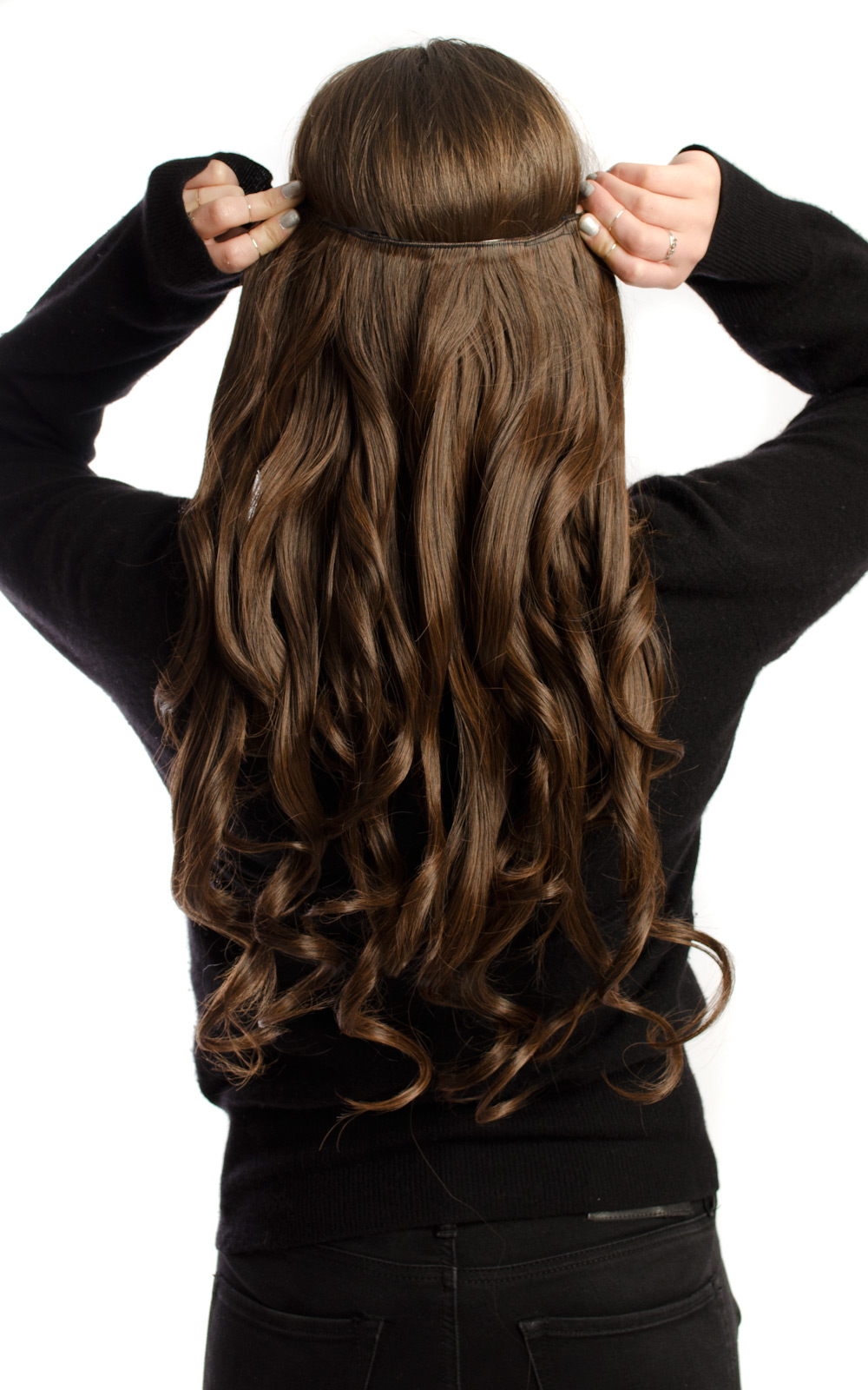 IKRUSH-Women-039-s-Intense-Volume-Clip-In-Hair-Extensions-Curly-in-BRUNETTE