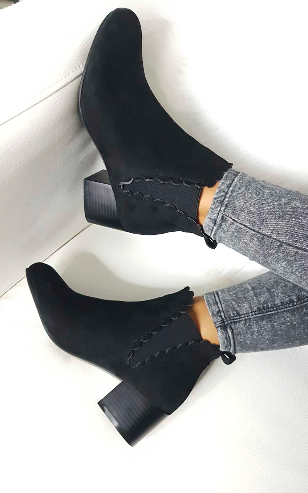 Alisa Faux Suede Ankle Boots in Black