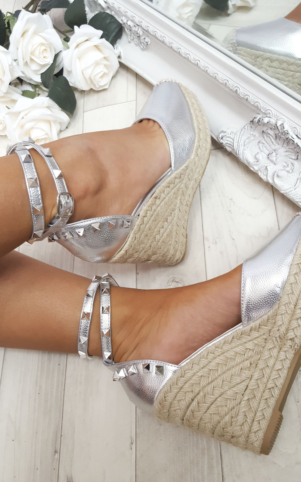 IKRUSH-Women-039-s-Hetti-Studded-Ankle-Strap-Espadrille-Wedges-Size-in-SILVER-Size