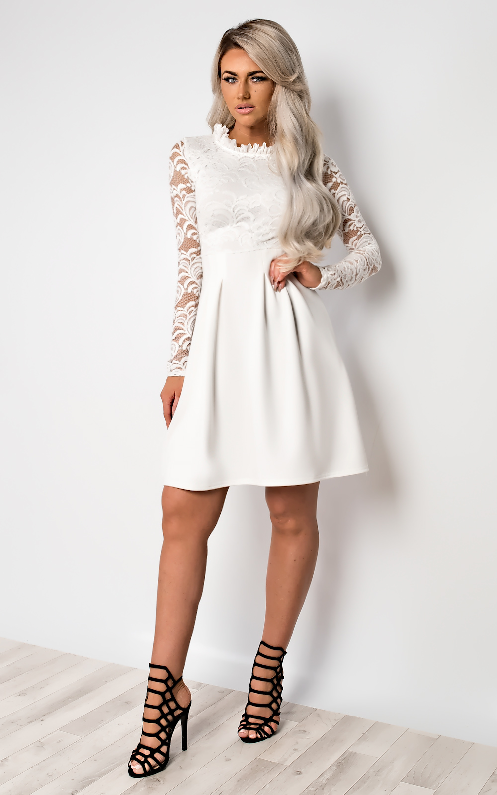 fe9bae0b3798 IKRUSH Womens Nika Lace Skater Dress White UK 8