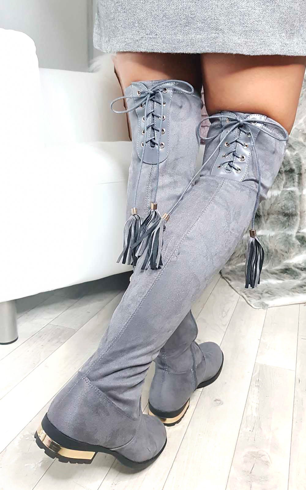 Katie Faux Suede Tassel Knee High Boots in Grey