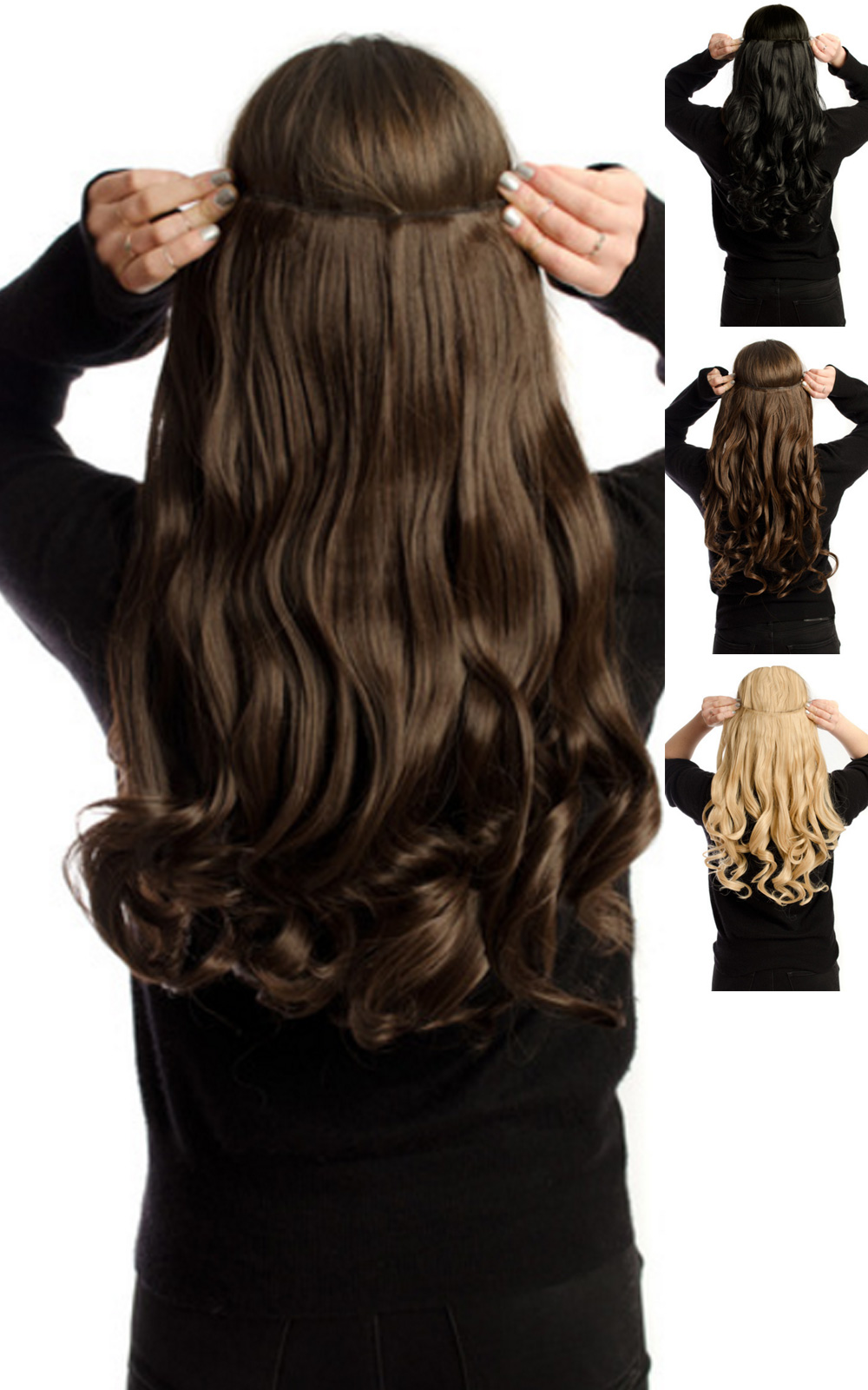 IKRUSH-Women-039-s-Intense-Volume-Clip-In-Hair-Extensions-Curly-in-JET-BLACK thumbnail 2