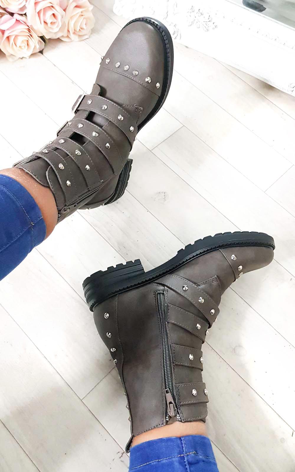Brogan Studded Buckle Ankle Boots in Khaki