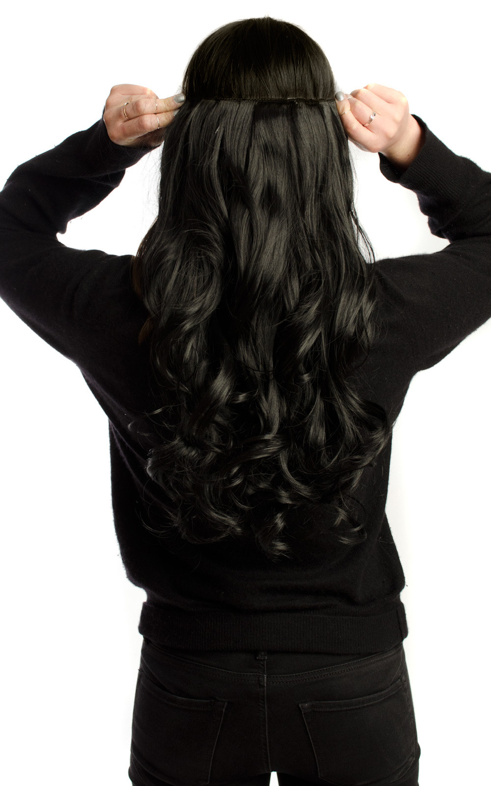 IKRUSH-Women-039-s-Intense-Volume-Clip-In-Hair-Extensions-Curly-in-JET-BLACK