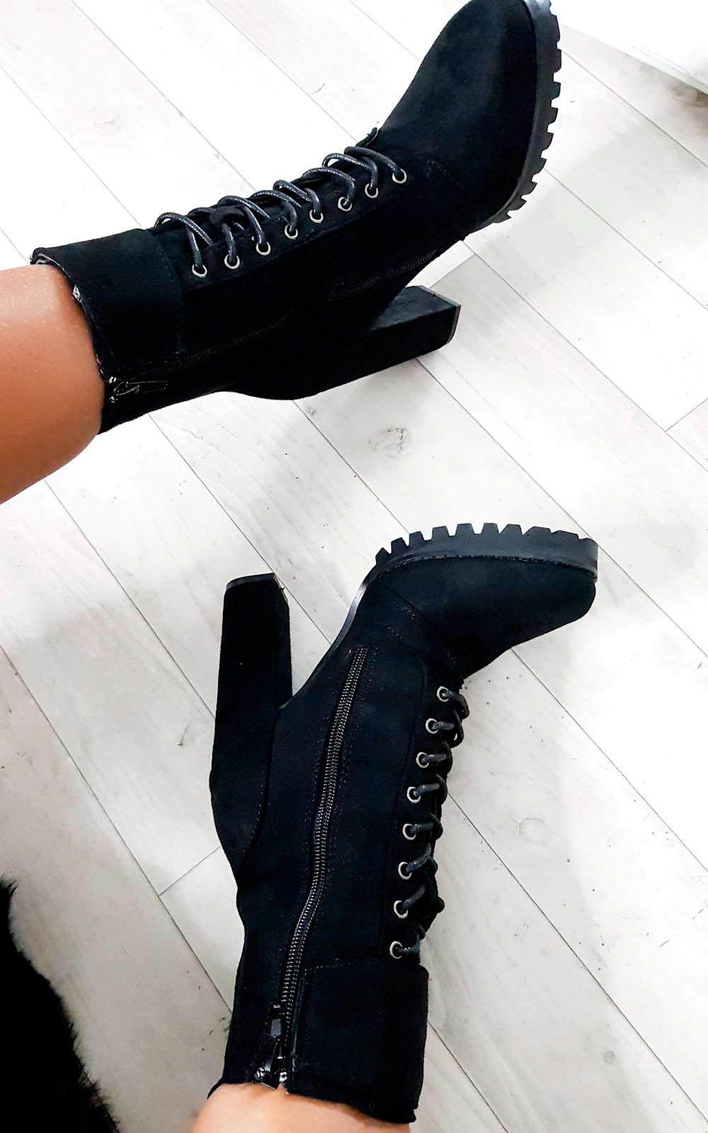 Shay Faux Suede Platform Tie Up Boots in Black