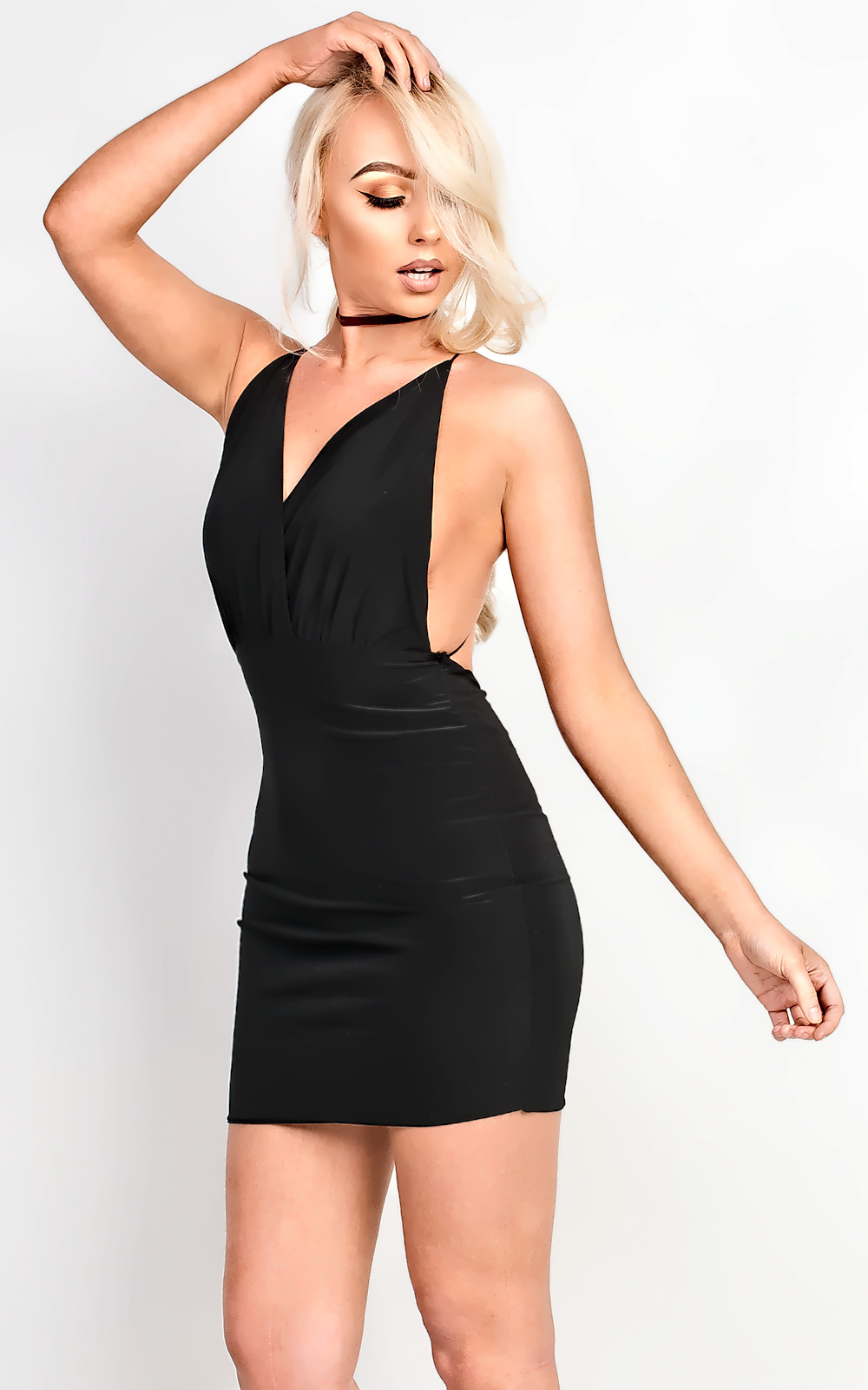 2a680447b5 IKRUSH Women s Carovie Slinky Bodycon Mini Dress Size in BLACK Size 10